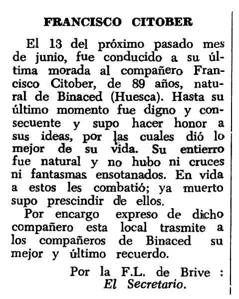 """Necrològica de Francisco Citoler Piquer apareguda en el periòdic tolosà """"Espoir"""" del 23 d'octubre de 1966"""