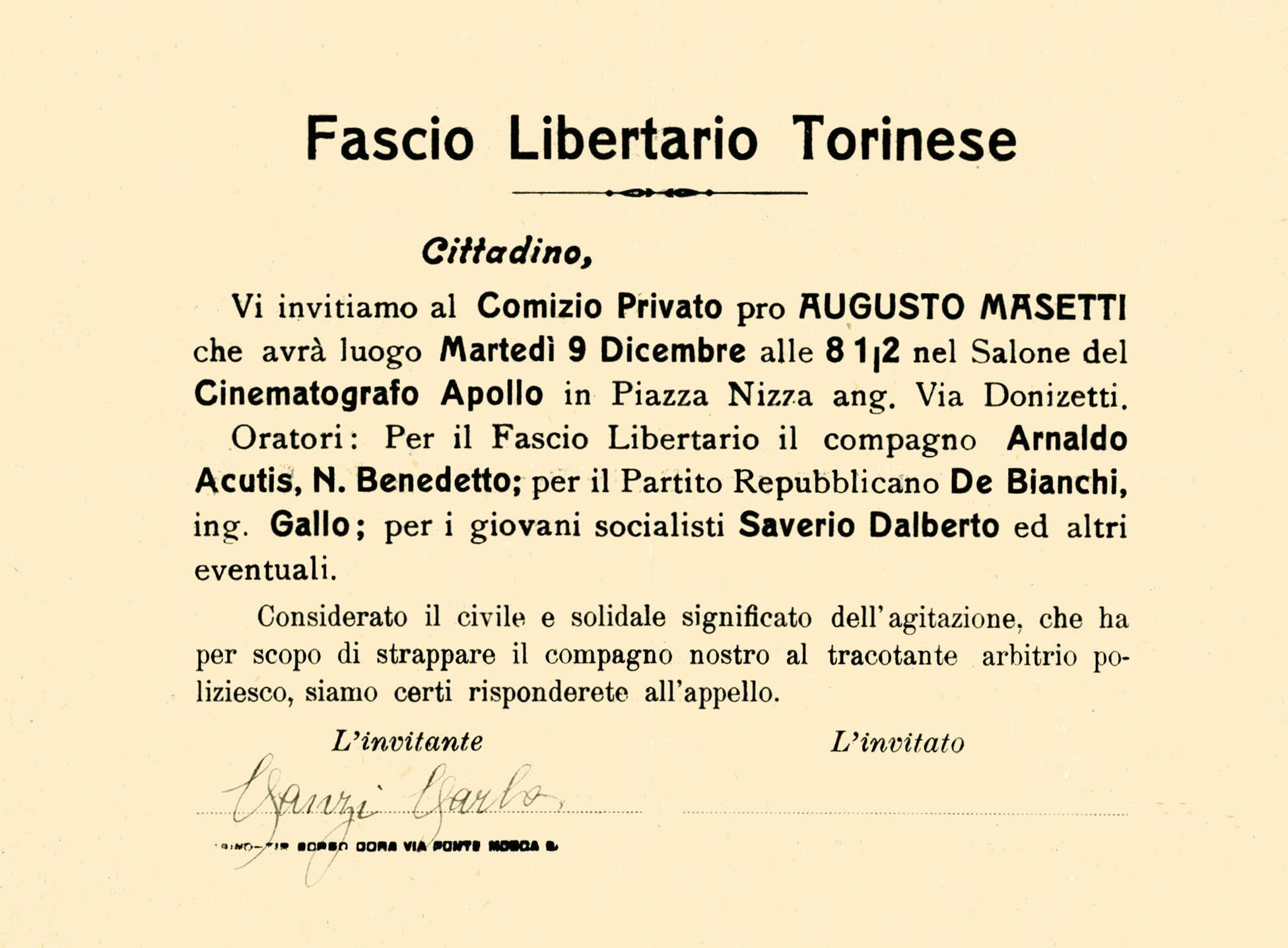 Invitació a l'acte signada per Carlo Canzi