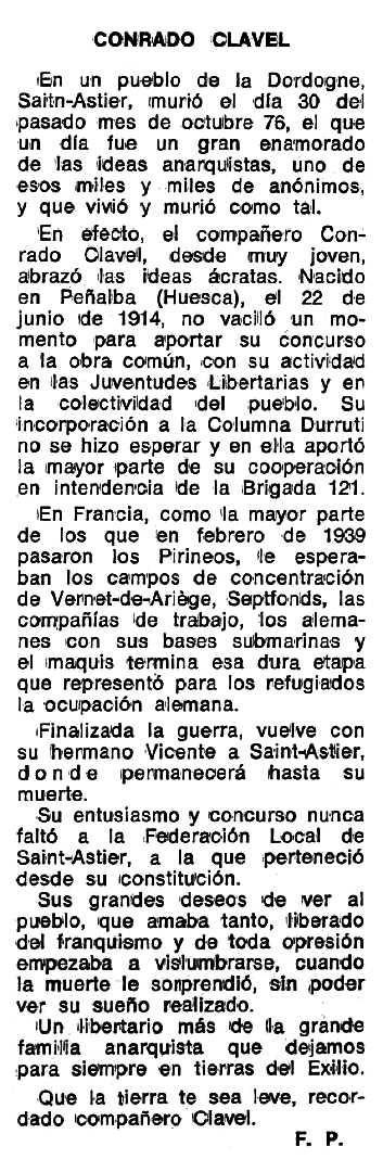 """Necrològica de Conrado Clavel apareguda en el periòdic tolosà """"Espoir"""" del 27 de febrer de 1977"""
