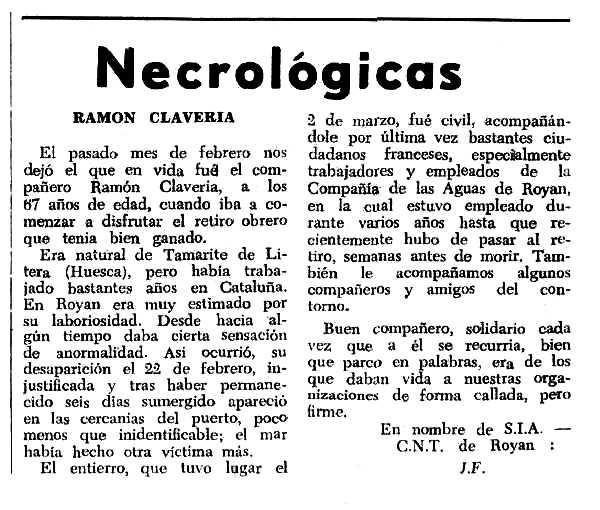 """Necrològica de Ramon Claveria Pujol apareguda en el periòdic tolosà """"Espoir"""" del 10 d'abril de 1966"""
