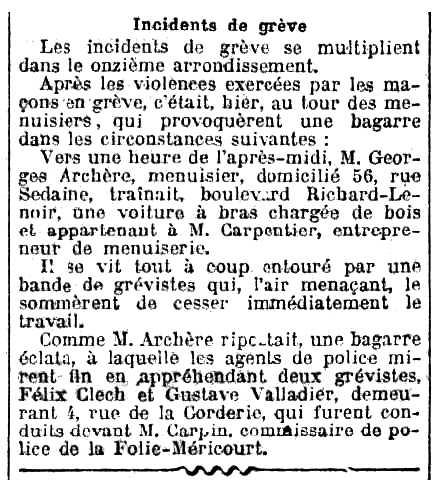 """Notícia de la detenció de Félix Clech apareguda en el diari parisenc """"Le Journal"""" del 8 de setembre de 1909"""