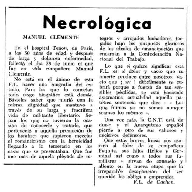 """Necrológica de Manuel Clemente Marcos aparecida en el periódico parisino """"Espoir"""" del 2 de agosto de 1964"""