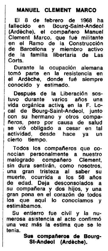 "Necrològica de Manuel Clement Marco apareguda en el periòdic tolosà ""Espoir"" del 31 de març de 1968"