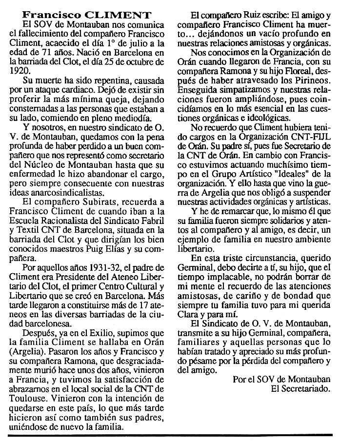 """Necrològica de Francesc Climent Barberan apareguda en el periòdic tolosà """"Cenit"""" del 8 de setembre de 1992"""