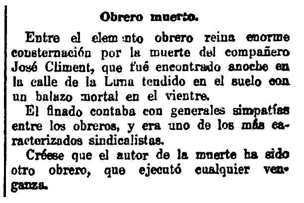 "Notícia de la mort de Josep Climent Martínez apareguda en el diari madrileny ""El Correo Español"" del 10 de juliol de 1917"