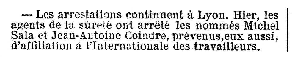"""Notícia de la detenció de Jean-Antoine Coindre apareguda en el periòdic parisenc """"Le Temps"""" del 13 de desembre de 1882"""
