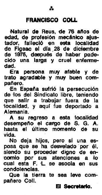 """Necrològica de Francesc Coll Cuchi apareguda en el periòdic tolosà """"Espoir"""" del 7 de març de 1976"""