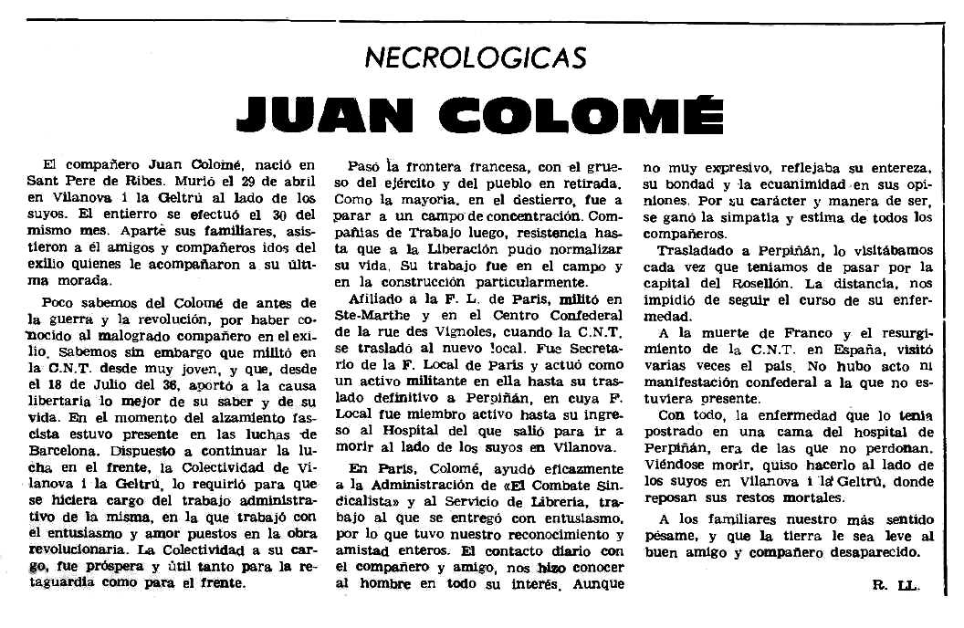 "Necrològica de Joan Colomé publicada en el periòdic parisenc ""Le Combat Syndicaliste"" del 6 de juliol de 1978"
