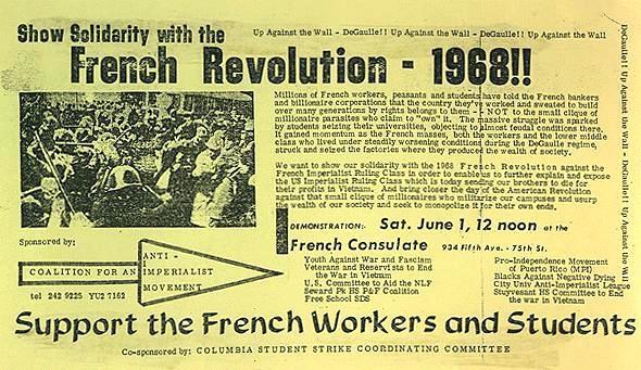 Pamflet de convocatòria de la manifestació de suport dels estudiants de Columbia al Maig francès