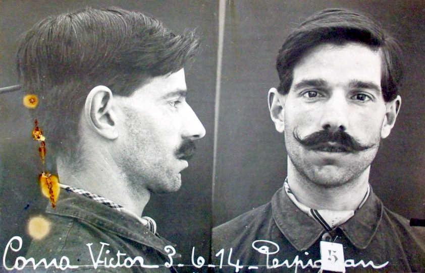 Foto antropomètrica de Víctor Coma Tuvella (3 de juny de 1914)