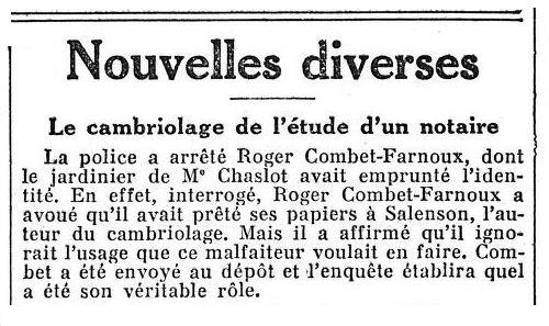 """Notícia sobre la detenció de Roger Combet-Farnoux apareguda en el periòdic parisenc """"Le Figaro"""" del 28 de maig de 1932"""