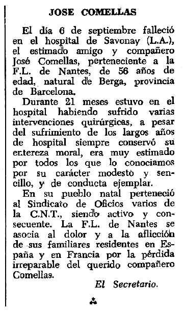 """Necrològica de Josep Comellas apareguda en el periòdic tolosà """"Espoir"""" del 27 de novembre de 1966"""