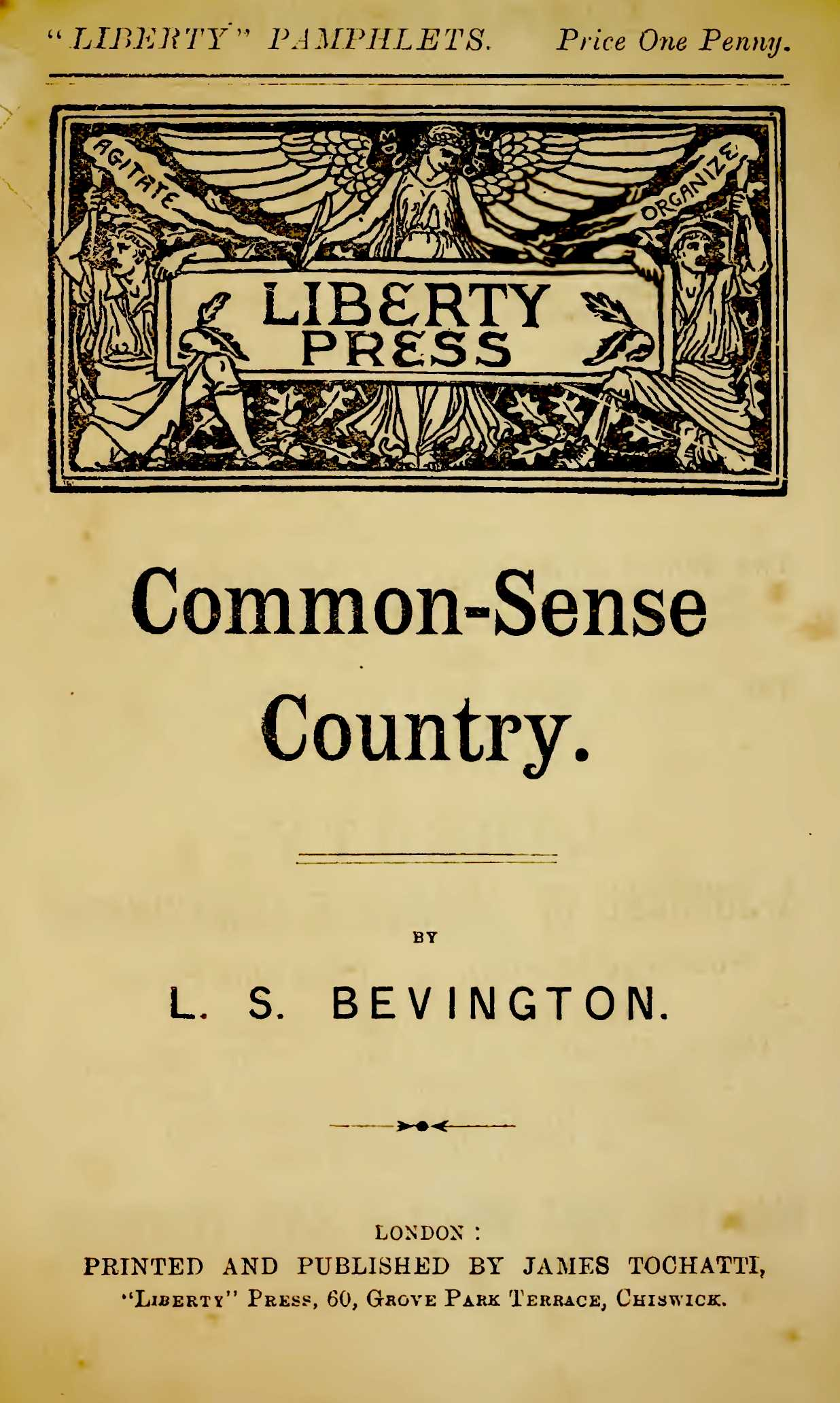 "Portada del llibre ""Common-sense country"" (1895) de Louisa Bevington"