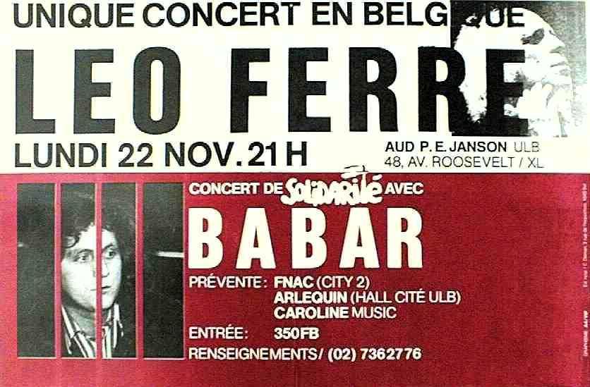Cartell del concert de Léo Ferré en solidaritat amb Babar