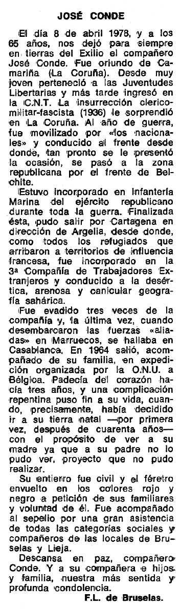 """Necrològica de José Conde apareguda en el periòdic tolosà """"Espoir"""" del 10 de juliol de 1978"""