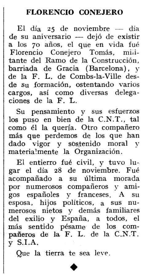 """Necrològica de Florencio Conejero Tomás apareguda en el periòdic tolosà """"Espoir"""" del 6 de gener de 1963"""
