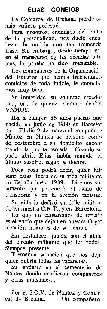 """Necrològica d'Elías Conejos García apareguda en el periòdic tolosà """"Cenit"""" del 15 d'abril de 1986"""