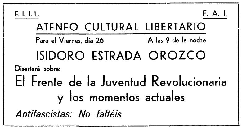 """Propaganda de l'acte apareguda en el periòdic de Figueres """"A la lucha"""" del 19 de febrer de 1937"""