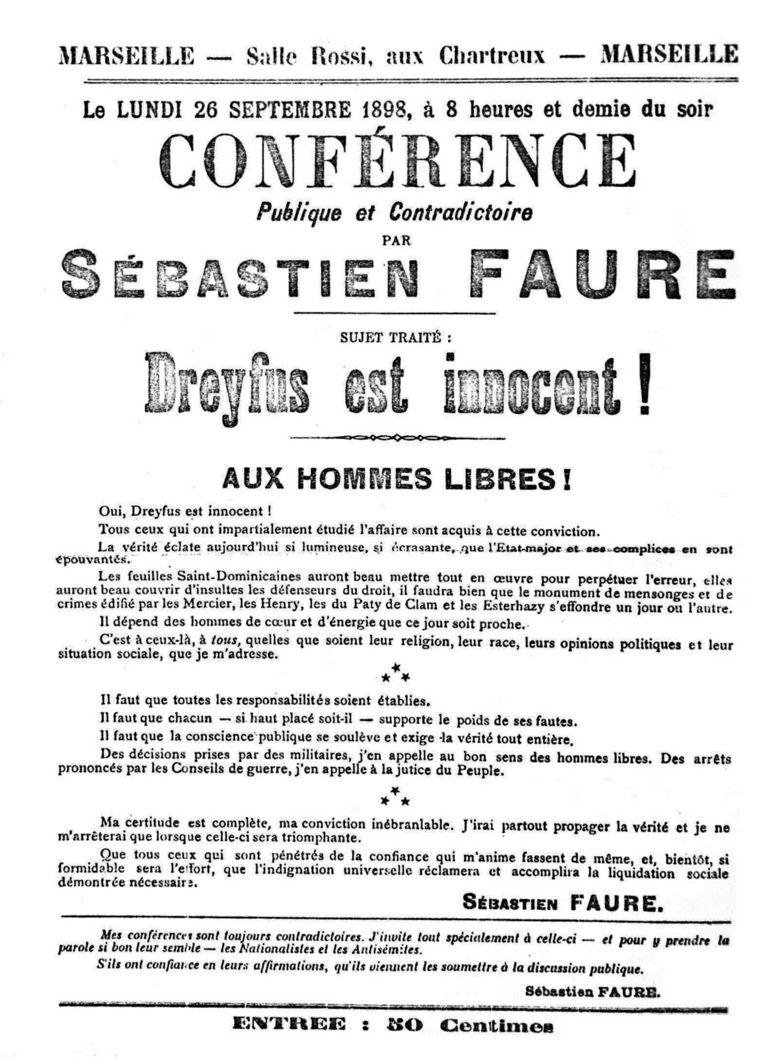 Cartell de la conferència de Sébastien Faure