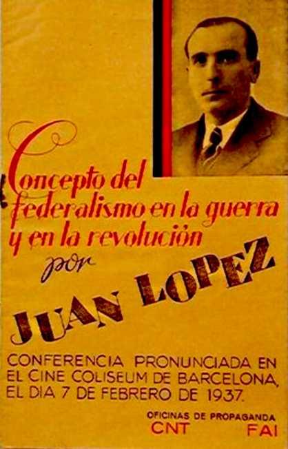 Portada del fullet de la conferència de Juan López