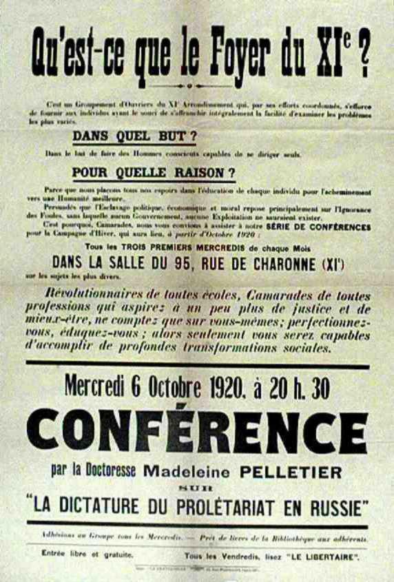 Cartell de la conferència de Madeleine Pelletier [placard.ficedl.info]