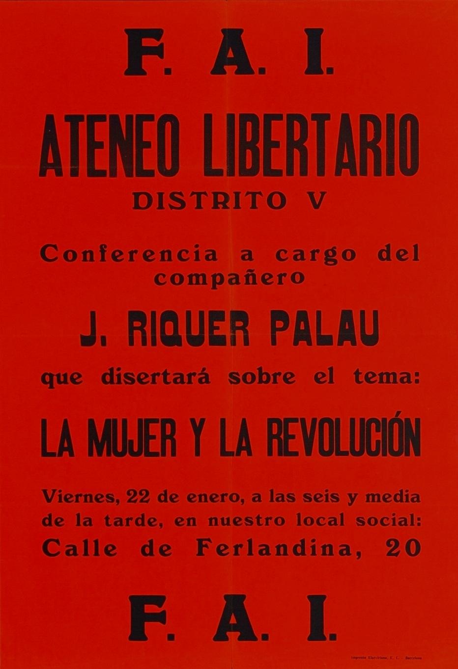 Cartell de la conferència de Josep Maria de Riquer i Palau