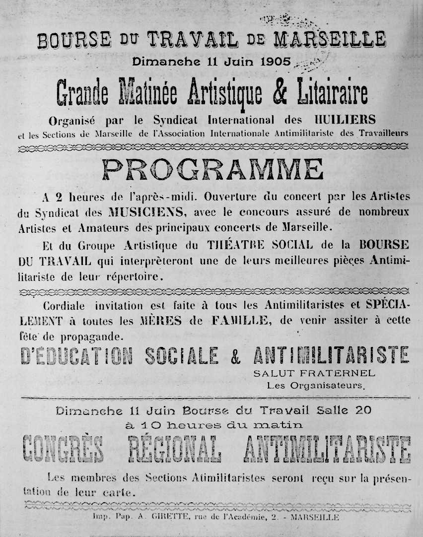 Cartell del Congrés Regional Antimilitarista