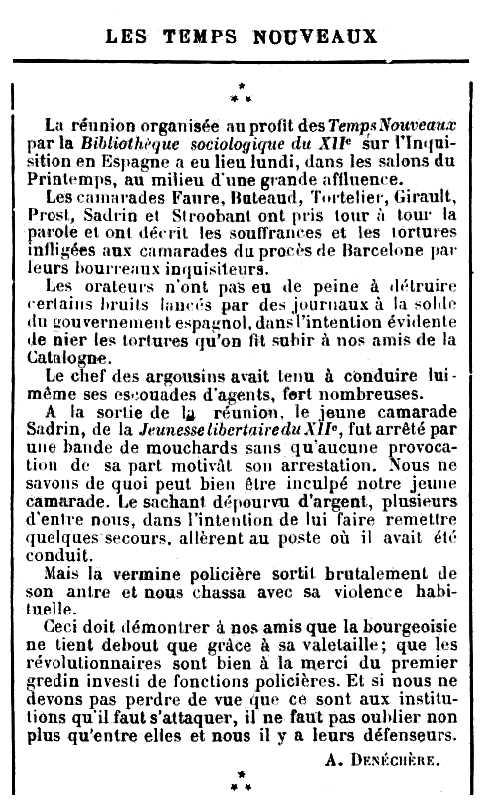 """Ressenya de l'acte apareguda en el periòdic parisenc """"Les Temps Nouveaux"""" del 16 de gener de 1897"""