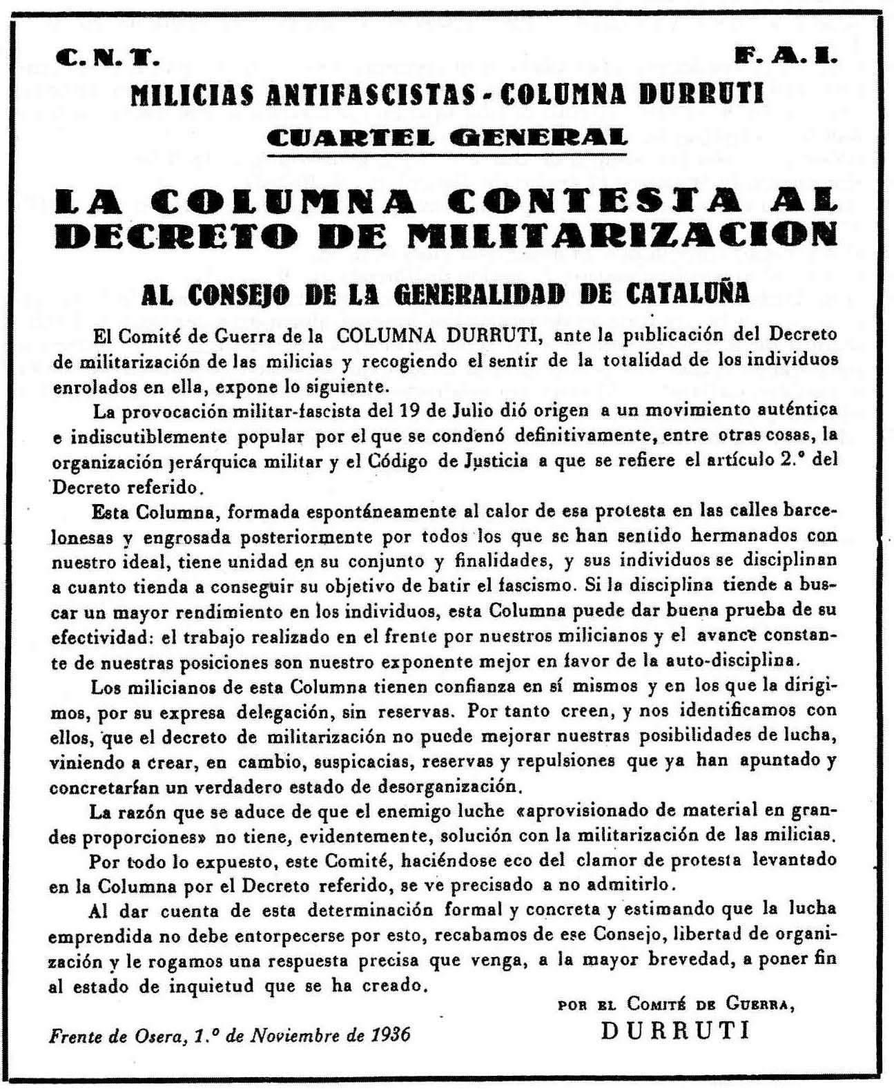"""Comunicat de la Columna Durruti publicat en """"Vía Libre"""" el 7 de novembre de 1936"""