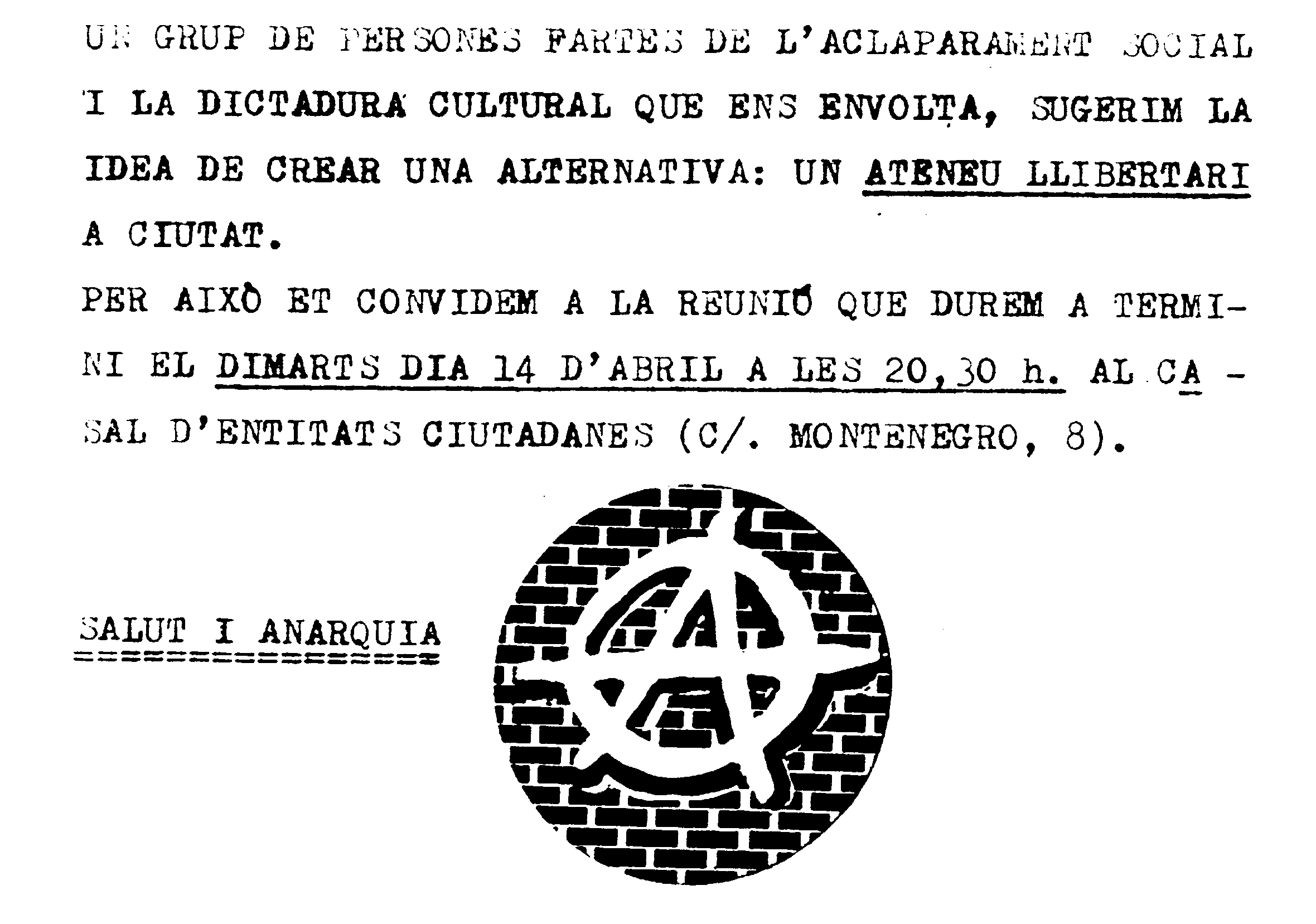 Convocatòria pro Ateneu Llibertari