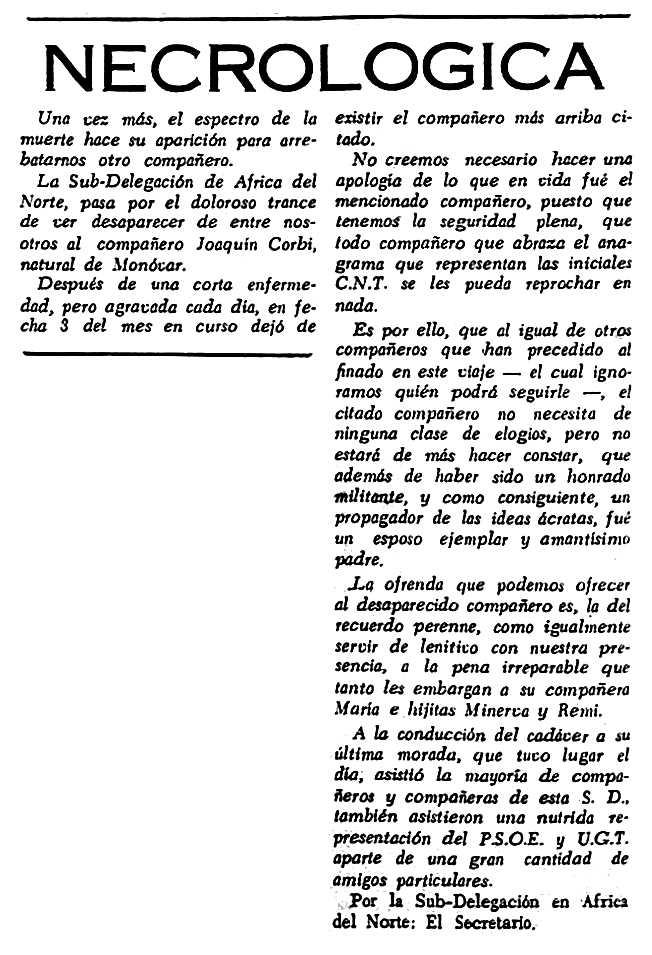"""Necrològica de Joaquín Corbí Ramírez aparegua en el periòdic tolosà """"España Libre"""" del 22 de maig de 1955"""