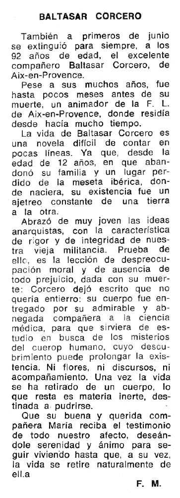 """Necrològica de Baltasar Corcero Lorenzo apareguda en el periòdic tolosà """"Espoir"""" del 28 d'octubre de 1973"""