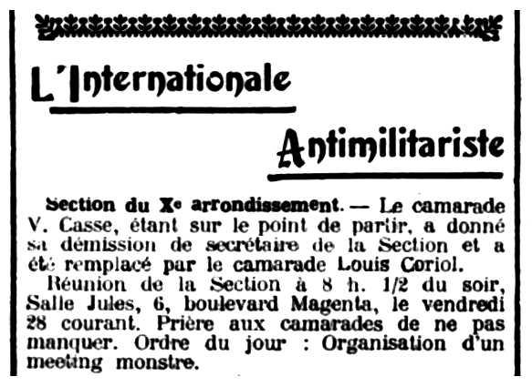 """Notícia del nomenament de Louis Coriol apareguda en el periòdic parisenc """"Le Libertaire"""" del 30 de setembre de 1906"""