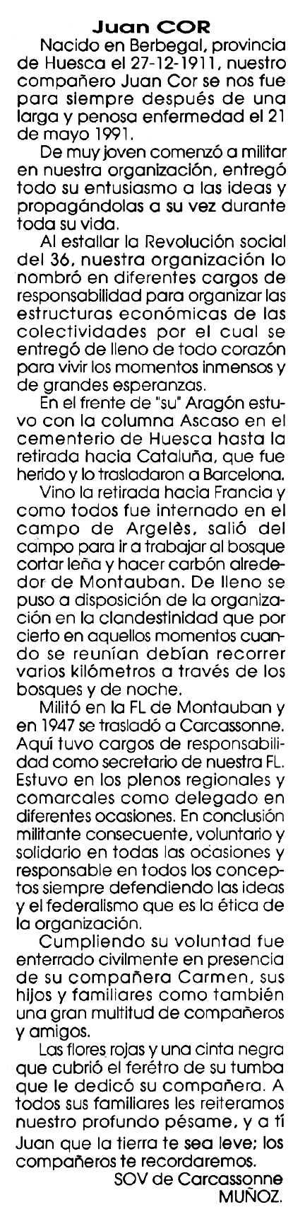"""Necrològica de Juan Cor apareguda en el periòdic tolosà """"Cenit"""" del 19 de setembre de 1991"""