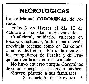 """Necrològica de Manuel Colomina Llena apareguda en el periòdic tolosà """"Cenit"""" del 29 de novembre de 1983"""
