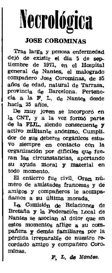 """Necrològica de Josep Corominas apareguda en el periòdic parisenc """"Le Combat Syndicaliste"""" del 30 de setembre de 1971"""