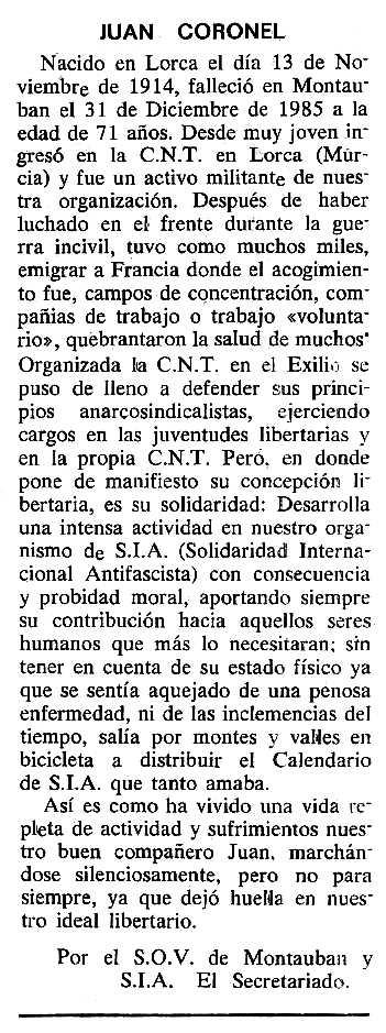 "Necrològica de Juan Coronel Giménez apareguda en el periòdic tolosà ""Cenit"" del 6 de maig de 1986"