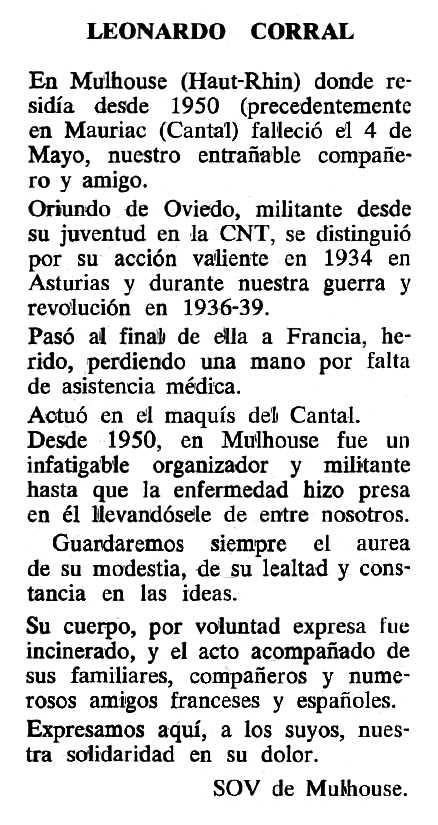 """Necrològica de Leonardo Corral Aladro apareguda en el periòdic parisenc """"Cenit"""" del 20 d'octubre de 1987"""