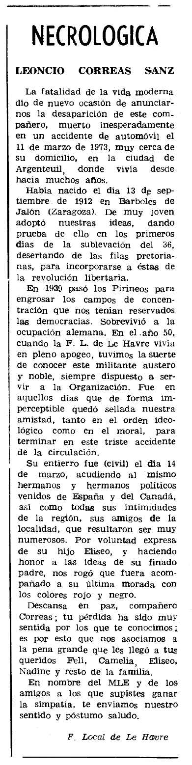 """Necrològica Leoncio Correas Sanz apareguda en el periòdic parisenc """"Le Combat Syndicaliste"""" del 19 d'abril de 1973"""