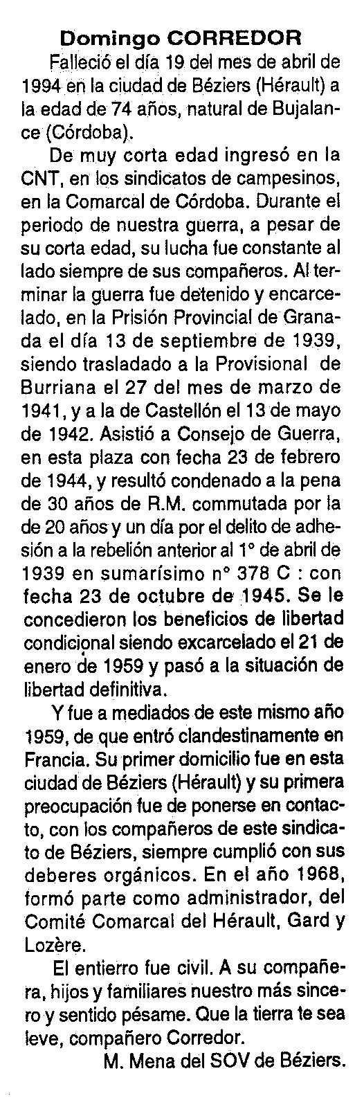 """Necrològica de Víctor Corredor Valderrama apareguda en el periòdic tolosà """"Cenit"""" del 14 de juny de 1994"""
