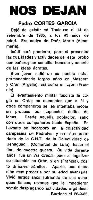 """Necrològica de Pedro Cortés García apareguda en el periòdic tolosà """"Cenit"""" del 18 de març de 1986"""