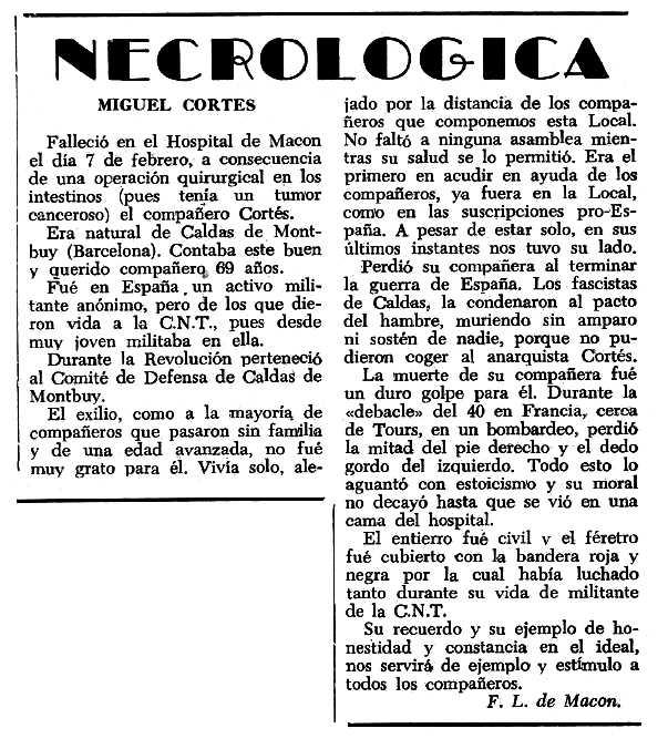 """Necrològica de Miquel Cortés Bonell apareguda en el periòdic tolosà """"Espoir"""" del 26 de maig de 1963"""