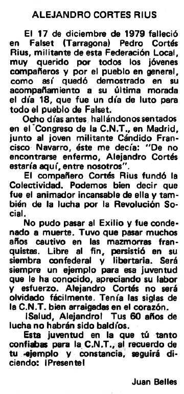 """Necrològica de Alexandre Cortés Rius apareguda en el periòdic tolosà """"Espoir"""" de l'11 de maig de 1980"""