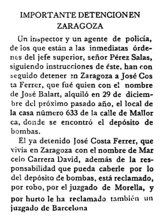 """Noticia de la detención de José Costa Ferrer aparecida en """"La Voz de Menorca"""" del 7 de junio de 1933"""