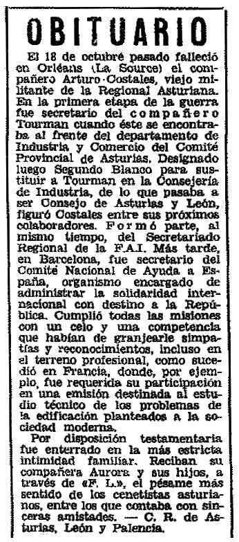"Necrològica d'Arturo Costales Rodríguez apareguda en el periòdic parisenc ""Frente Libertario"" de novembre de 1972"