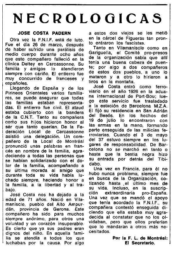 """Necrològica de Josep Costa Padern publicada en el periòdic tolosà """"Espoir"""" del 31 d'octubre de 1971"""