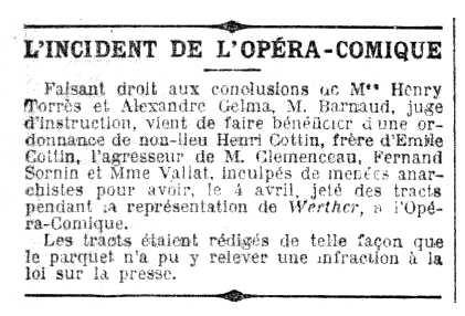 """Notícia del processament d'Henri Cottin apareguda en el periòdic """"Le Petit Parisien"""" del 16 de setembre de 1923"""