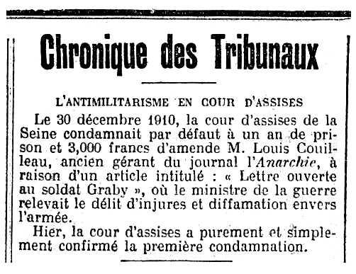 """Notícia sobre la condemna de Louis Couilleau apareguda en el diari parisenc """"Le Gaulois"""" del 30 de maig de 1912"""