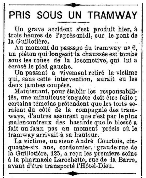 """Notícia de l'accident d'André Courtois apareguda en el periòdc lionès """"L'Écho de Lyon"""" del 17 d'agost de 1892"""