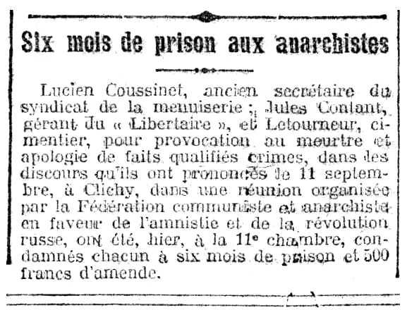 """Notícia de la condemna de Lucien Coussinet apareguda en el diari parisenc """"Le Rappel"""" del 5 de novembre de 1920"""